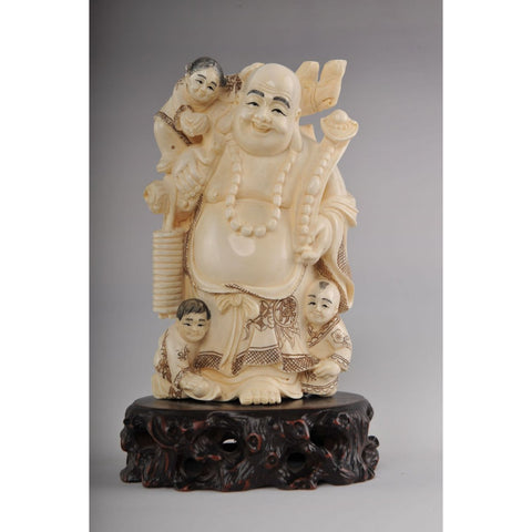 Mammoth Ivory- Buddha with Kids