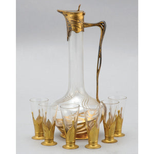 An art nouveau orivit gilt liquor set