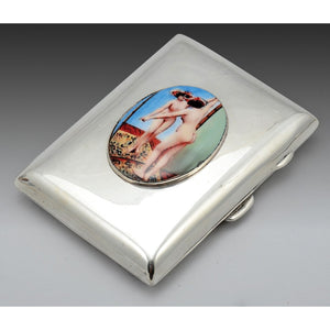 An erotic, silver and enamel cigarette case