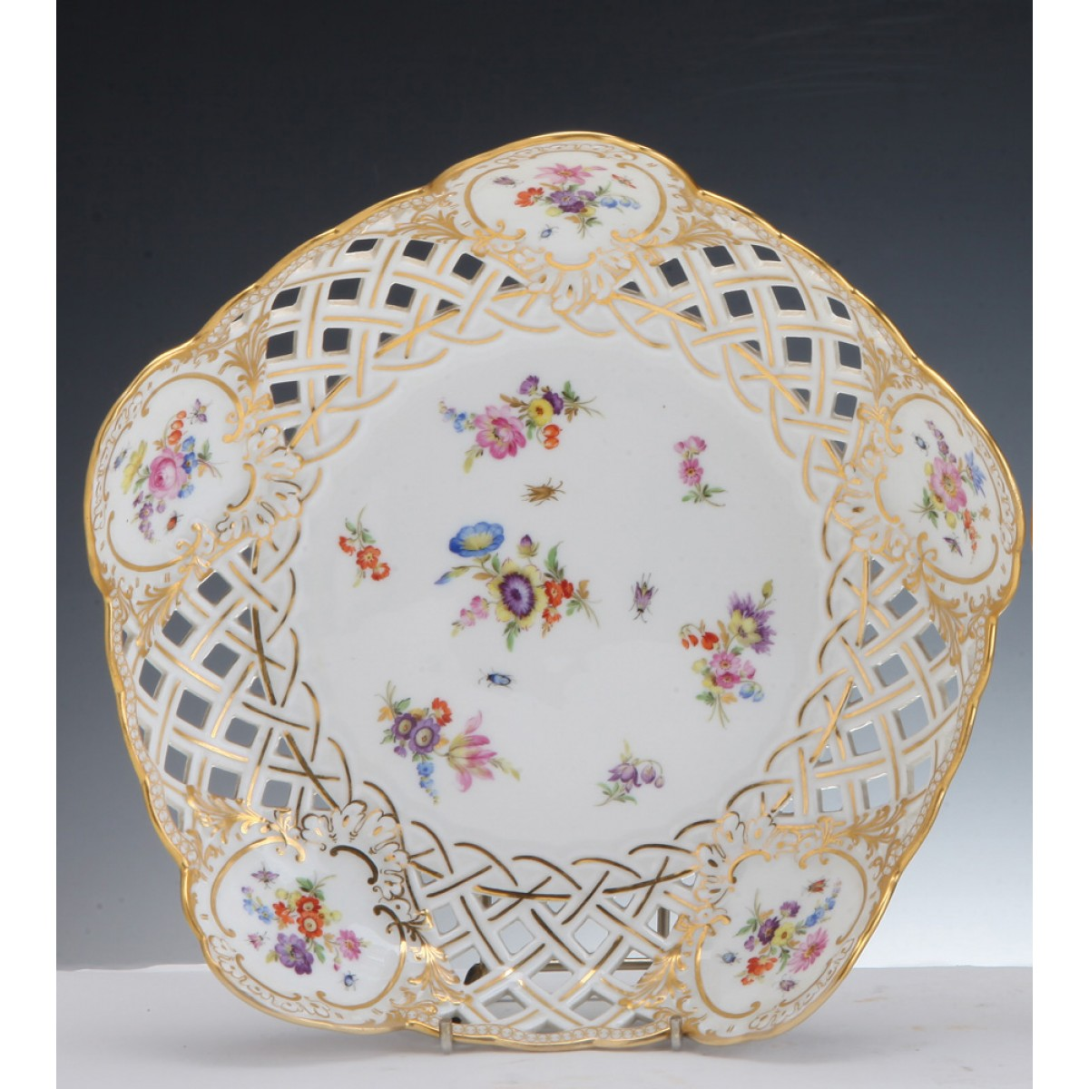 A Meissen porcelain reticulated bowl