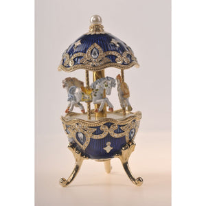 Blue Faberge Egg with Horse Carousel by Keren Kopal