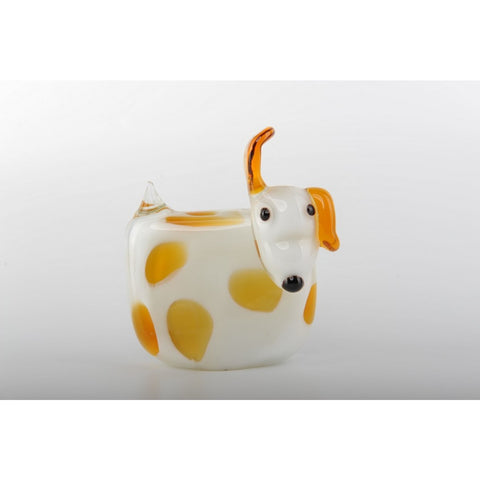 Glass Decoration of White Dog with Yellow Spots