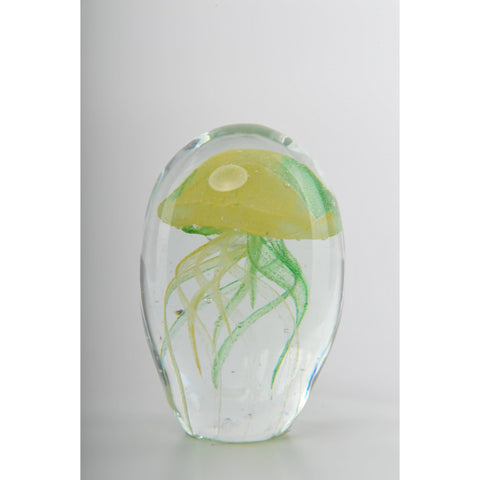 Glass Decoration of Yellow & Green Jellyfish