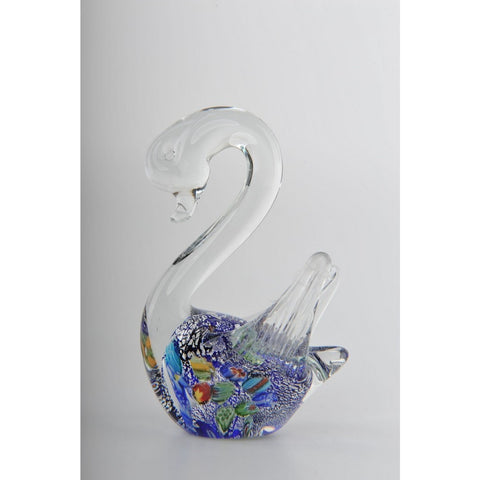 Glass Decoration of Colorful Swan