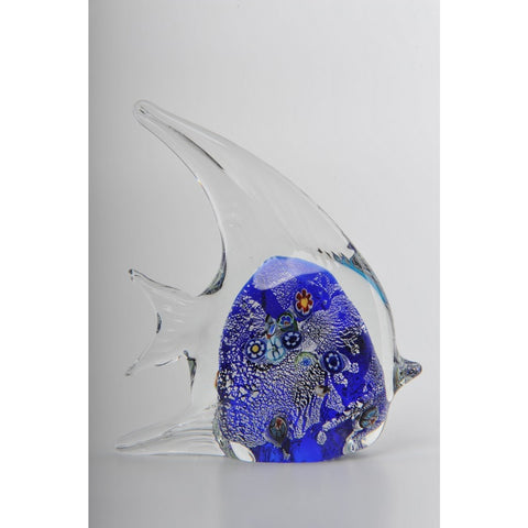 Glass Decoration of Clear & Blue Fish