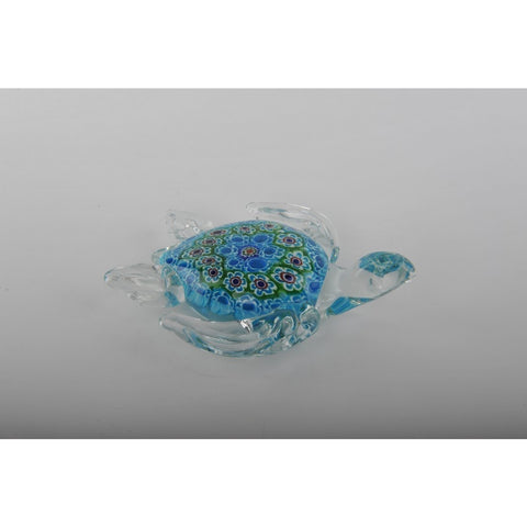 Glass Decoration of Turtle with Light Blue Belly
