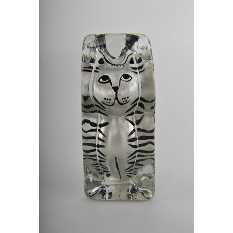 Glass Decoration of Striped Cat Sculpture
