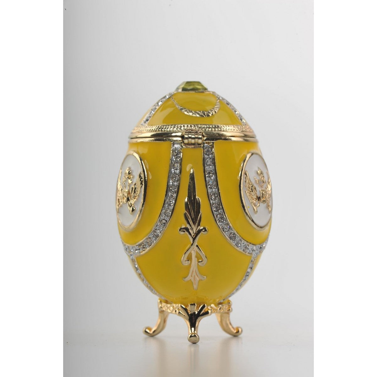 Yellow Faberge Egg with Gold Decorations by Keren Kopal