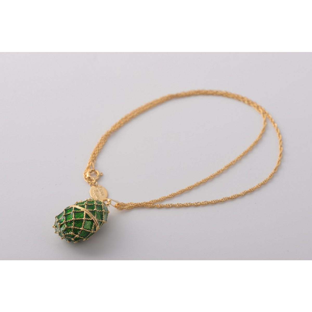 Dark Green Faberge  Egg Pendant Necklace
