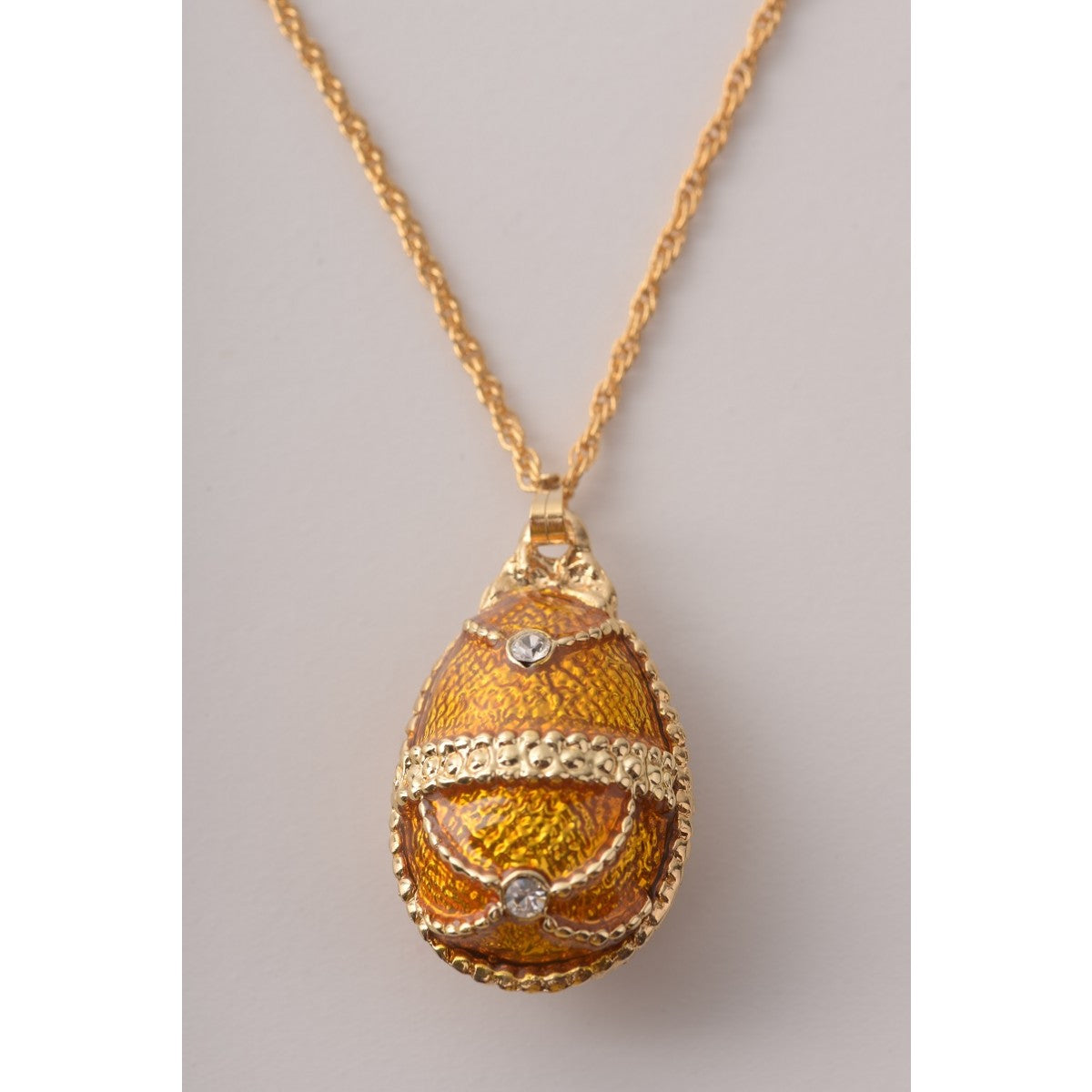 Mustard Yellow Faberge Egg Pendant Necklace