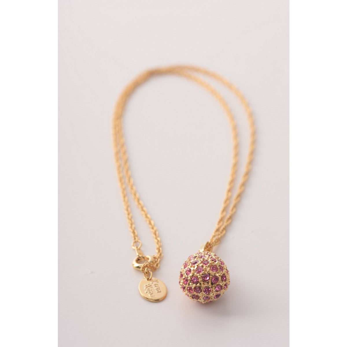 Gold with pink crystals Faberge Egg Pendant Necklace