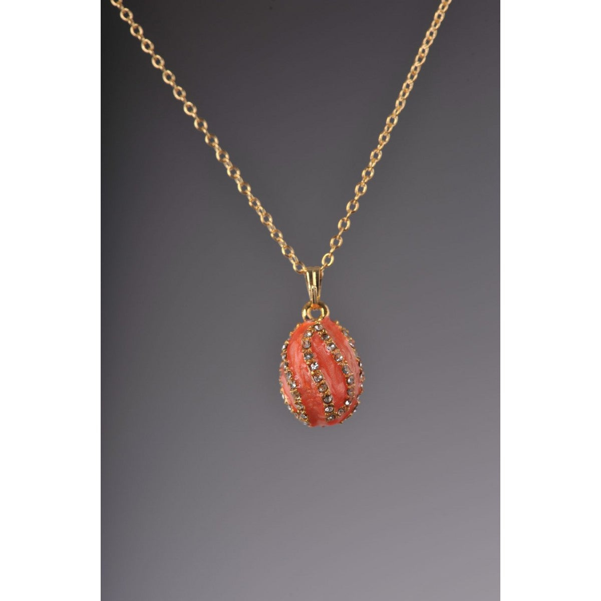Salmon spiral faberge Egg Pendant Locket Necklace