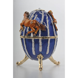 Blue Faberge Egg with Brown Horses by Keren Kopal
