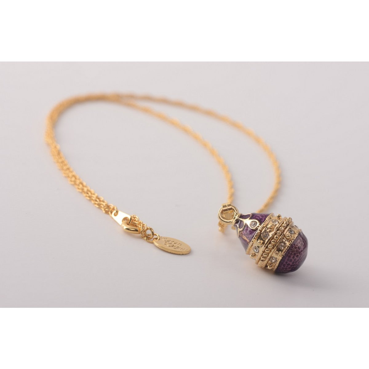 Purple & Gold Faberge Egg Pendant Necklace
