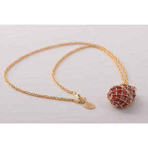 Red Faberge  Egg Pendant Necklace