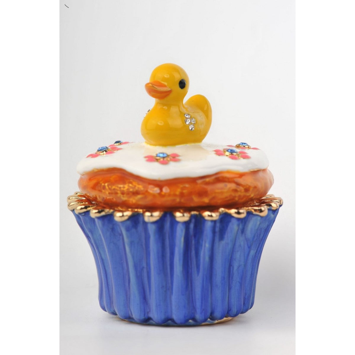 Yellow Duck on Blue Cupcake by Keren Kopal