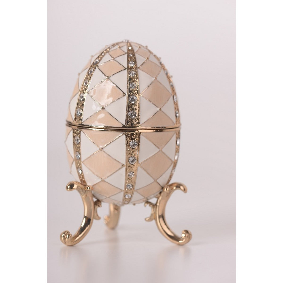White & Pink Music Playing Faberge Egg by Keren Kopal