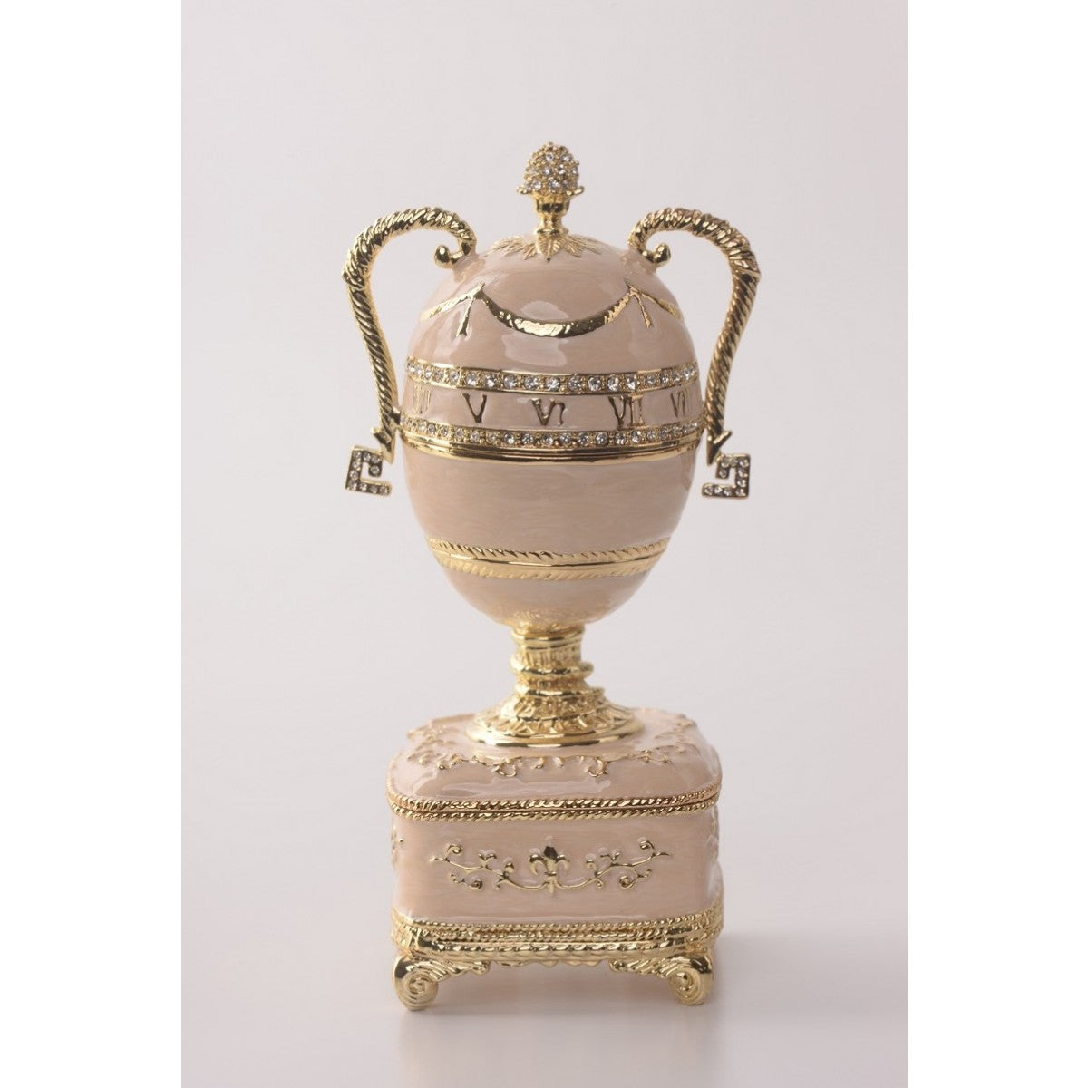Baby Pink Faberge Egg with Gold Handles by Keren Kopal
