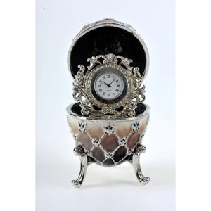 Brown Faberge Egg with a Quartz Clock by Keren Kopal