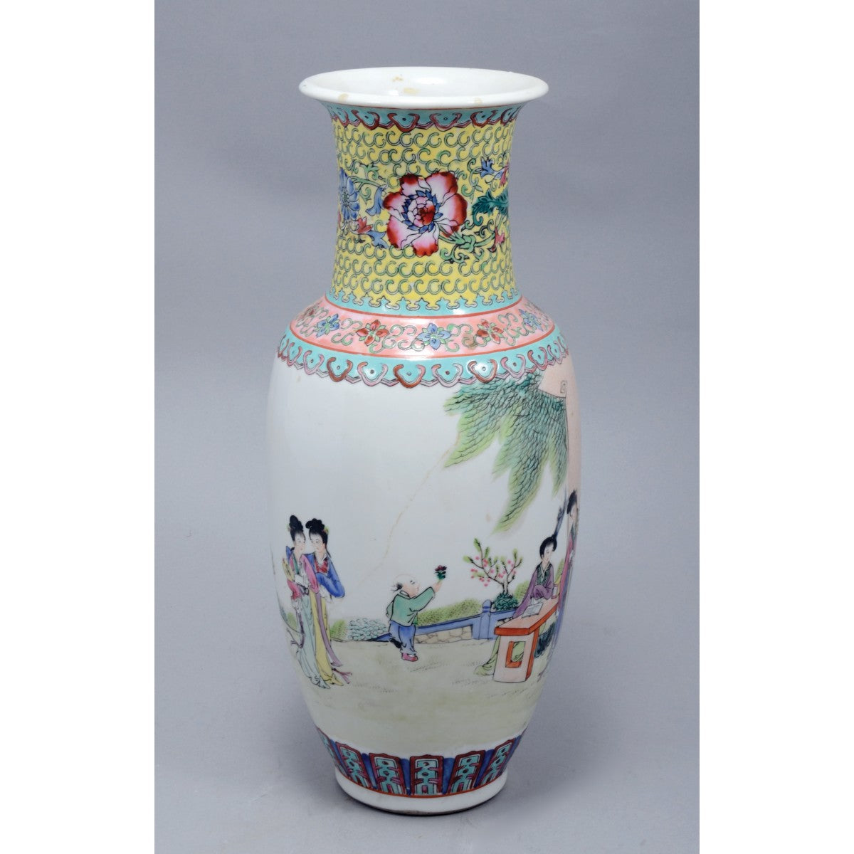 Chinese Porcelain Famille Rose Vase, Decorated with Flowers and Figures