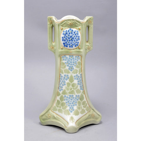 Antique Art Deco, Celadon Porcelain Vase, Signed by K et G Luneville, France