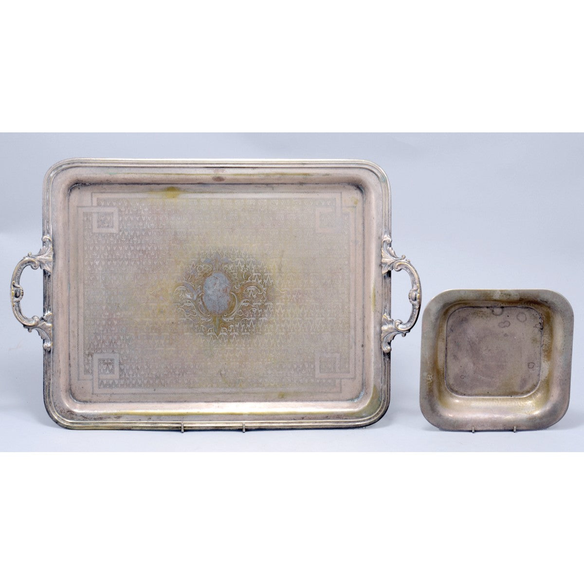 Norblin& Co. Silver Plated Tray & Antique Art-Deco Silver Square Plate