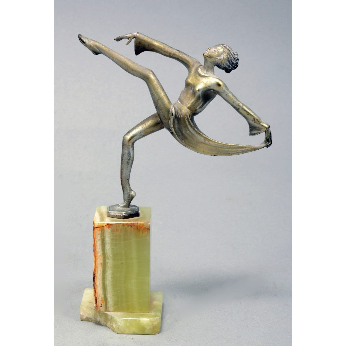 Art Deco Antique, Pewter Sculpture in the Form of a Dancer, Marble Base