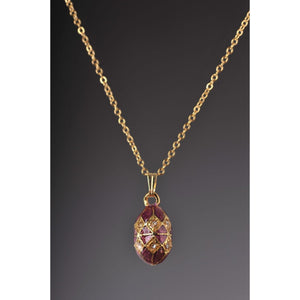 Magenta & Gold Egg Pendant Necklace