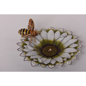 Flower Shaped Faberge Styled Plate with a Bee Trinket Box Handmade by Keren Kopal