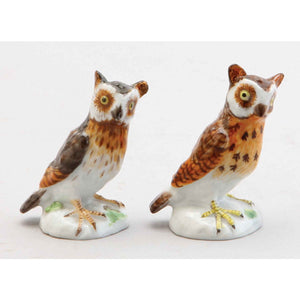 Two Meissen Porcelain Owls