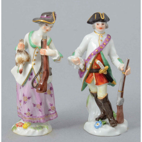 A Pair Of Miniature Meissen Porcelain Hunters