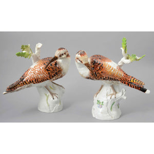 A Pair Of Meissen Porcelain Birds