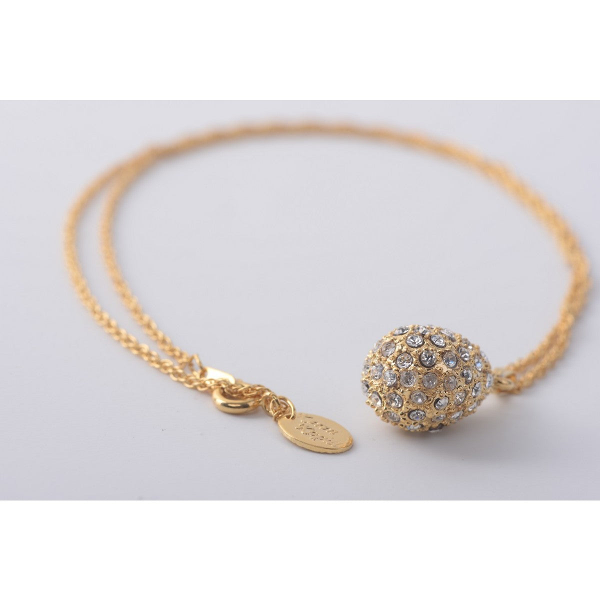 Gold with crystals  Faberge Egg Pendant Necklace
