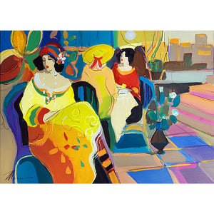 Women at a Cafe by Isaac Maimon