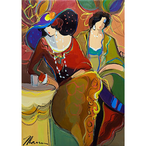 Two Women with Large Hats by Isaac Maimon