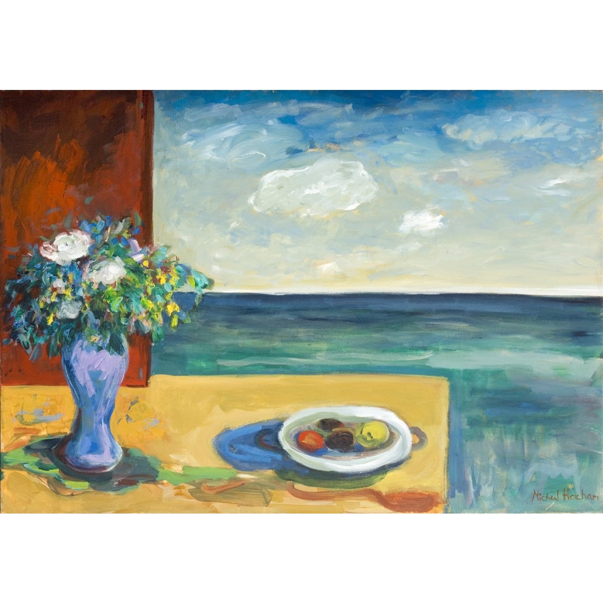 Fruit Plate and Flowers With an Ocean View By Michal Hacham