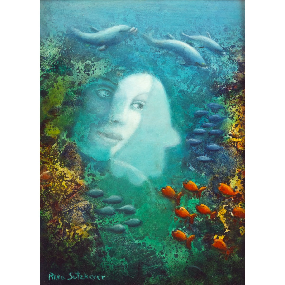Woman's Face and a Hamsa in an Ocean by Rina Sutzkever