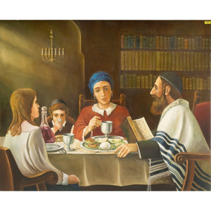 Jewish Family Around the Table by Ben Zvolon