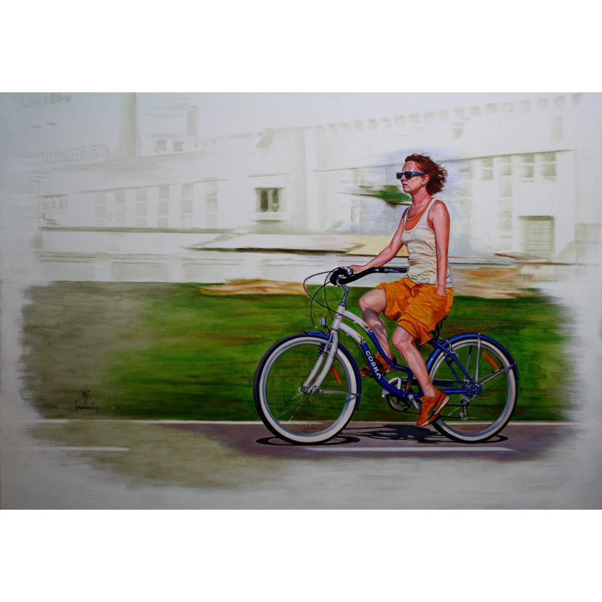 Woman Riding on Bicycle by Gustavo Valenzuela