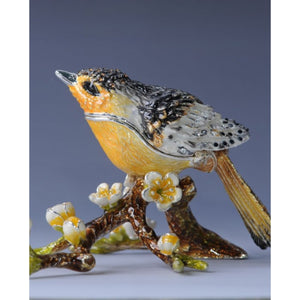 Black & Yellow Bird on a Branch Faberge Style Trinket Box