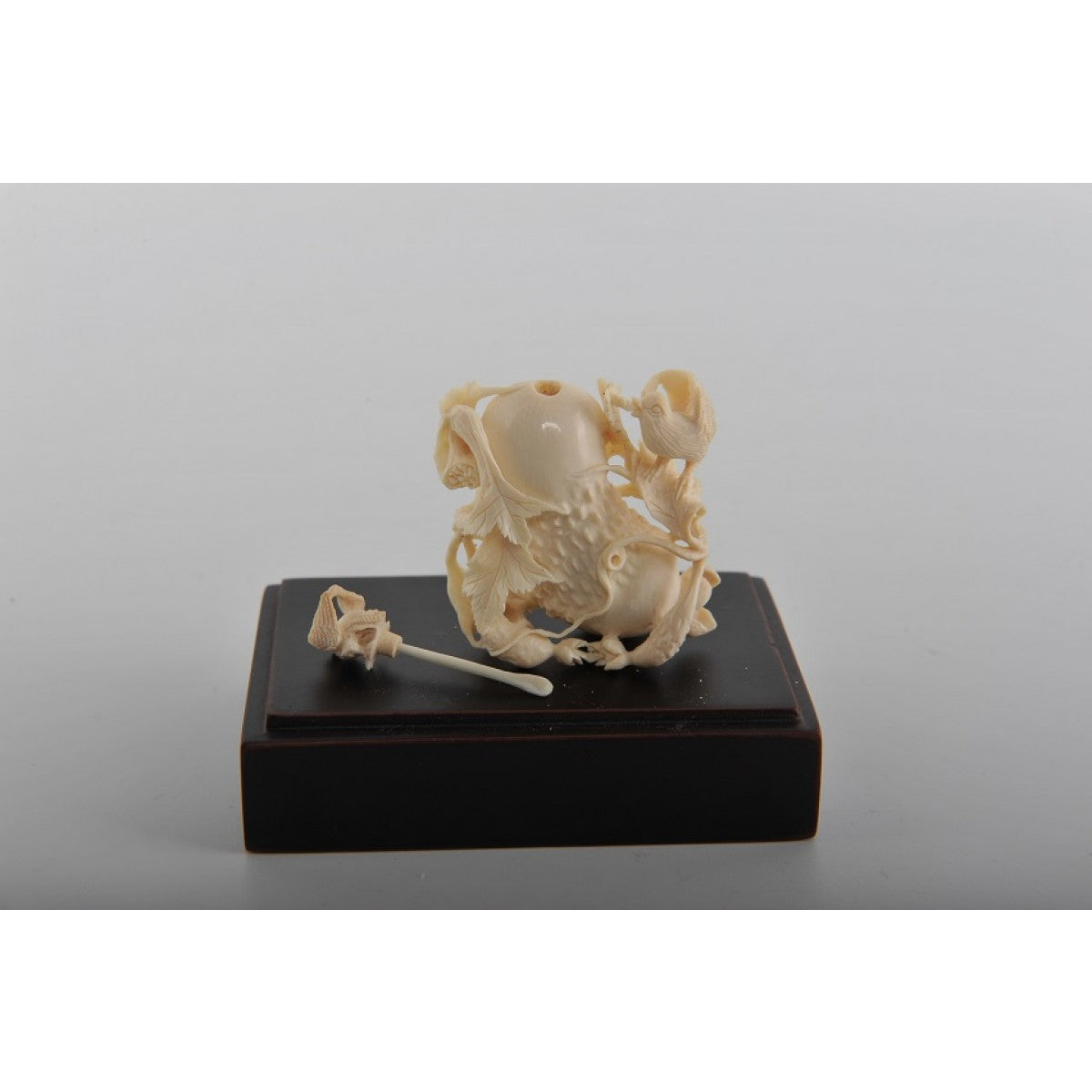 Mammoth Ivory- Snuff Bottle Peanut, Flower & Bird