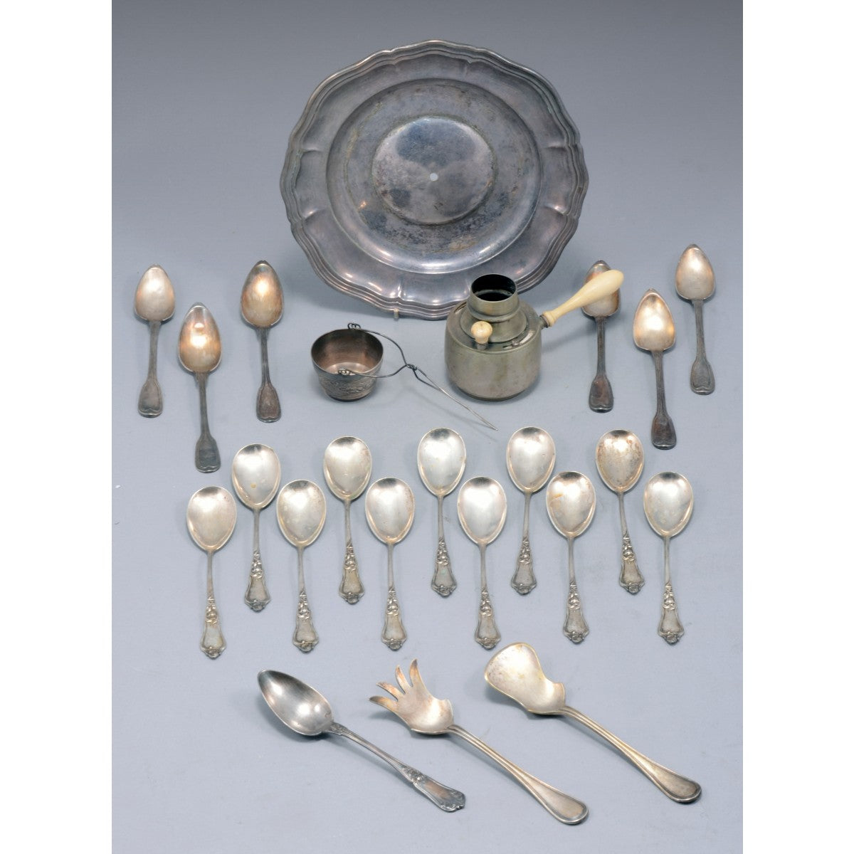 European marked Silver Teaspoons , Silver Dishes and Silver Bowl