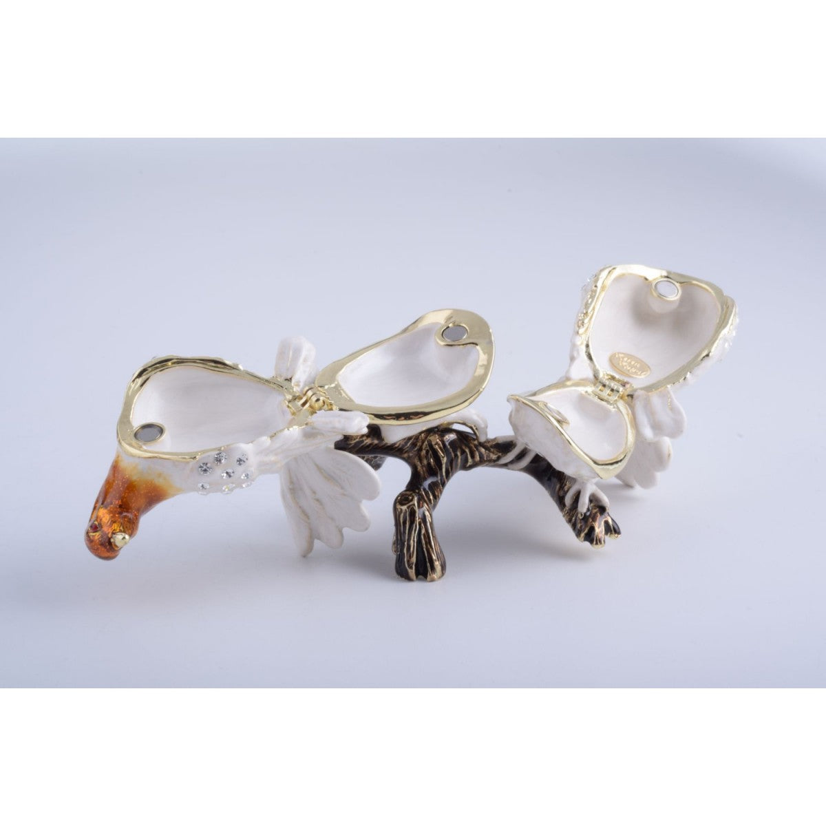 White Birds on a Branch Faberge Style Trinket Box