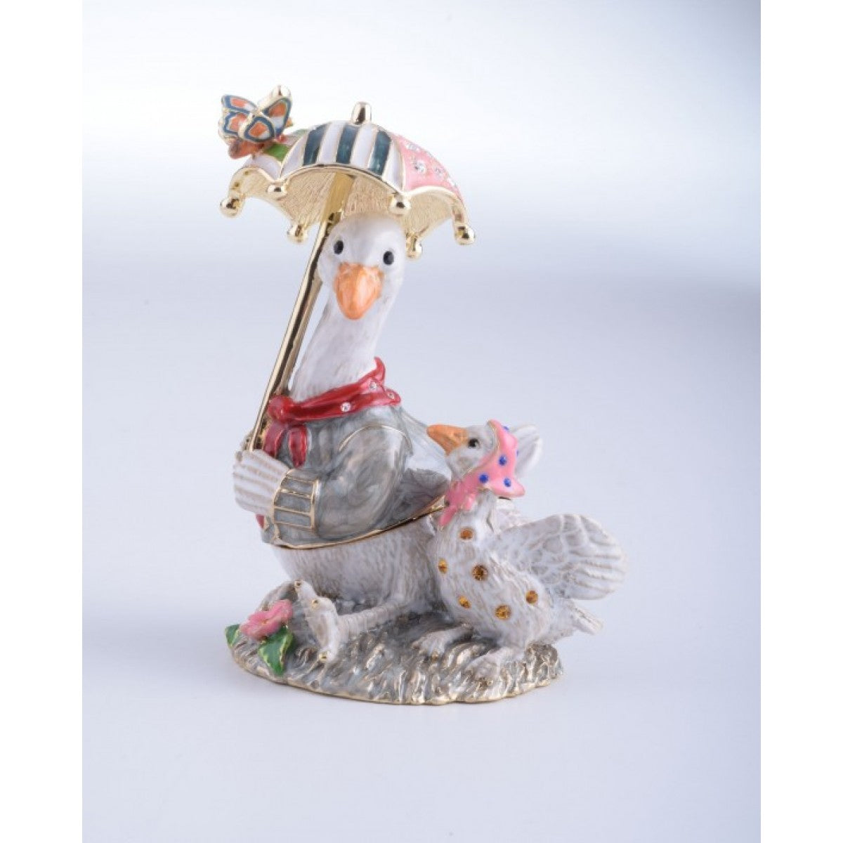 Goose with Umbrella Faberge Styled Trinket Box