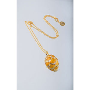 Yellow & Gold Fabrege Egg Styled Pendant Necklace