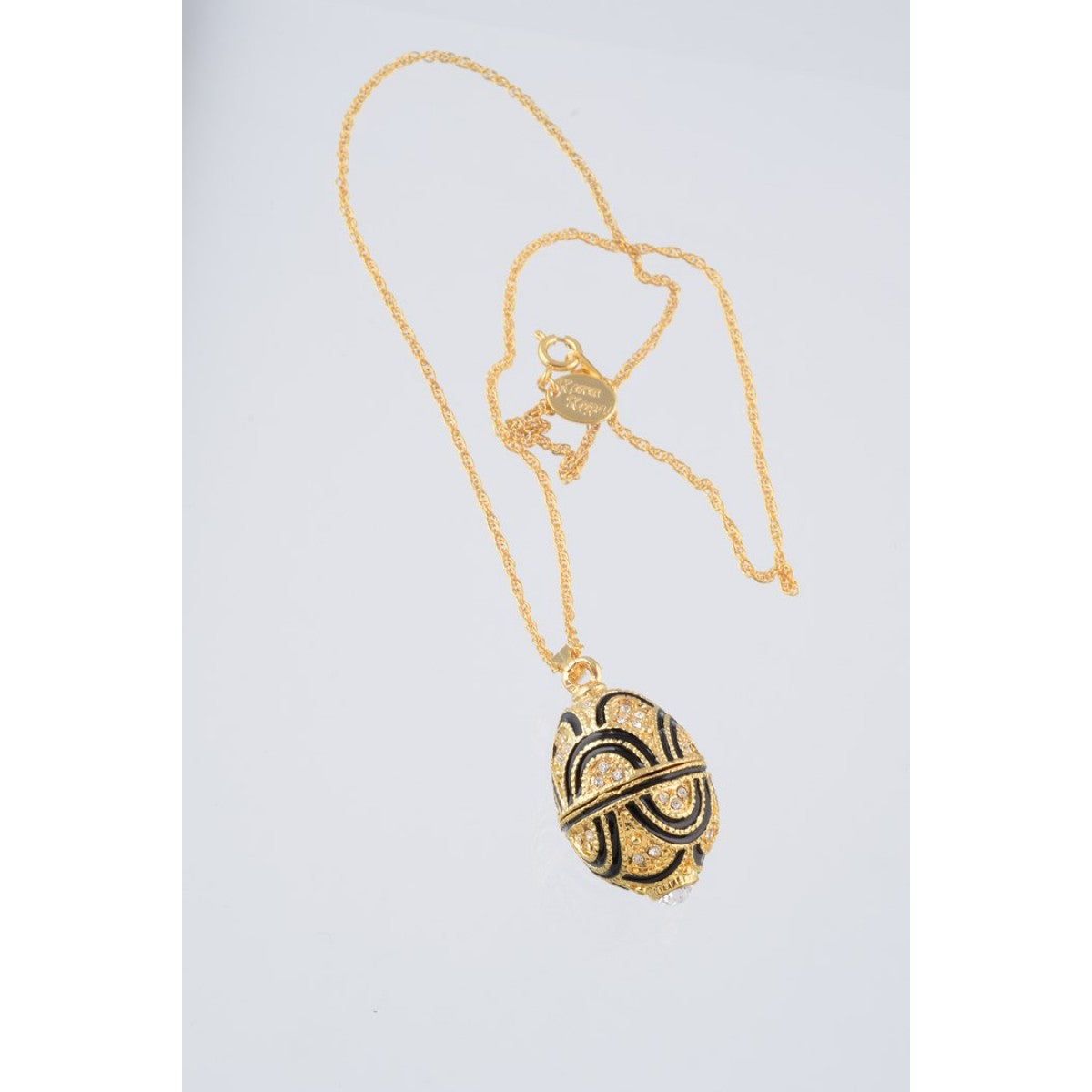 Gold & Black Fabrege Egg Styled Pendant Necklace