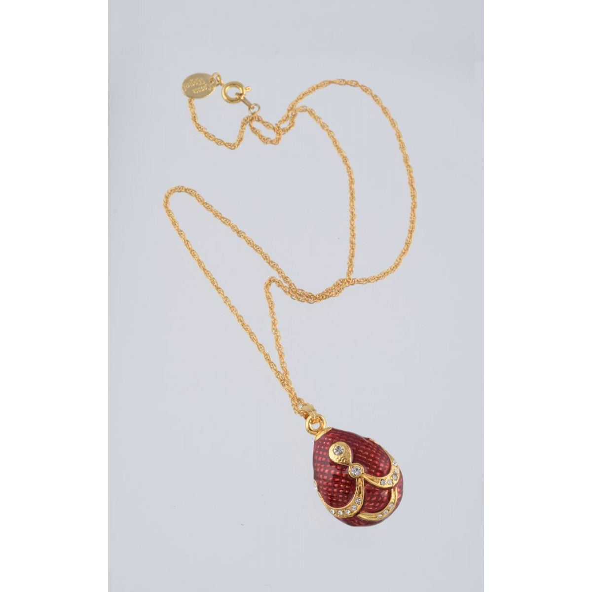 Red & Gold Fabrege Egg Styled Pendant Necklace