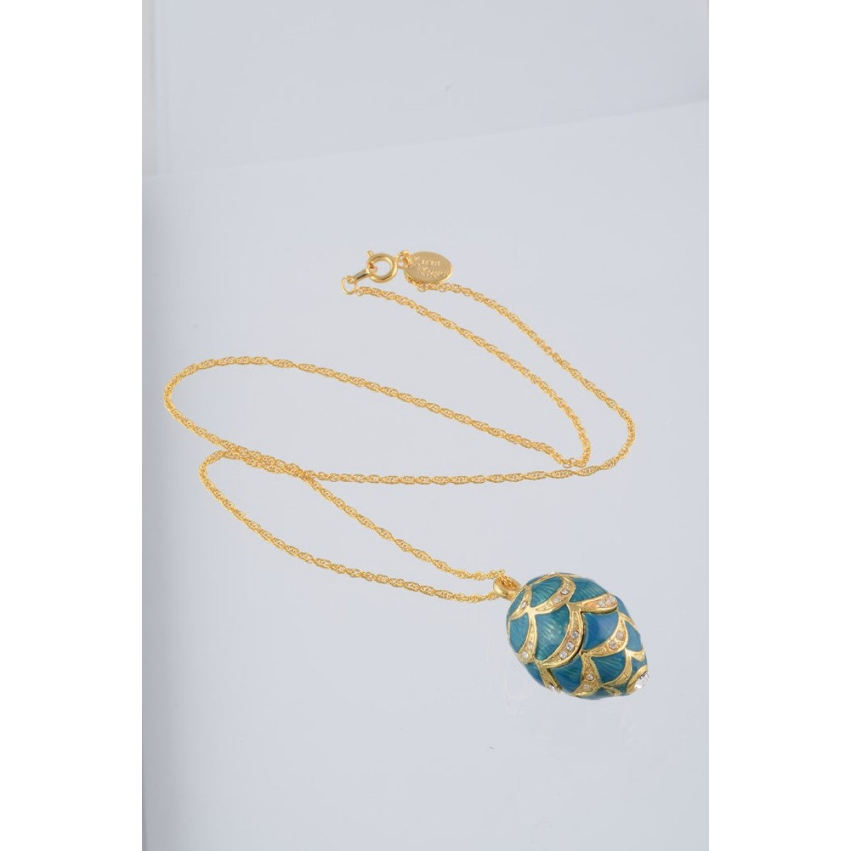 Blue & Gold Fabrege Egg Styled Pendant Necklace