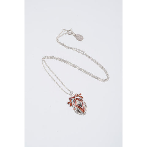 Silver & Red Fabrege Egg Styled Pendant Necklace