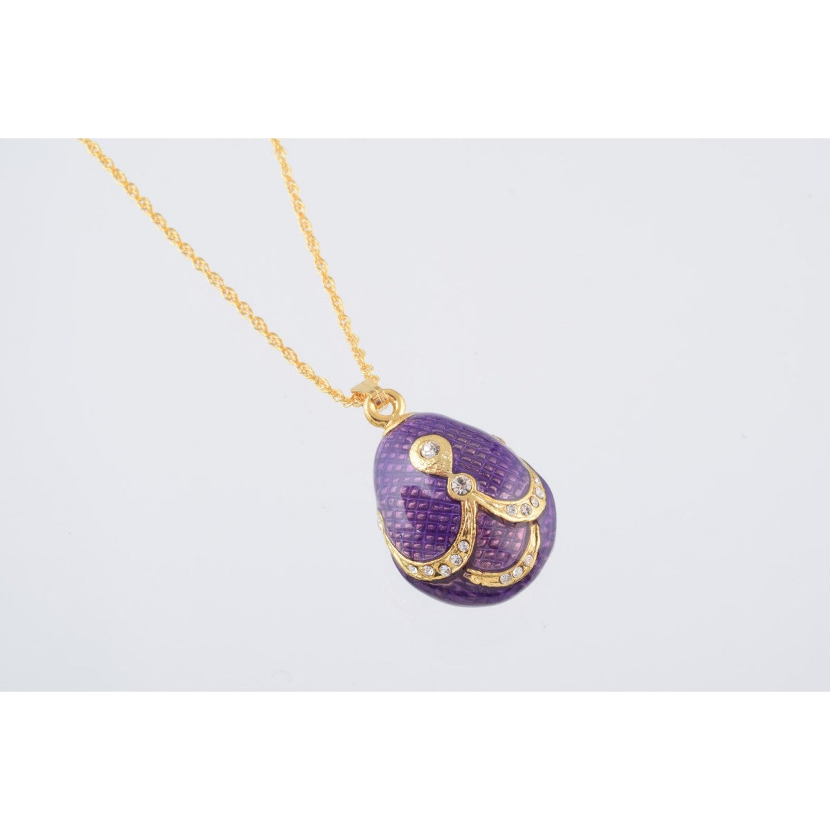 Purple & Gold Fabrege Egg Styled Pendant Necklace